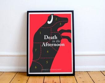Hemingway, Death in the Afternoon, fine art print, book cover, giclée, bullfighting, corrida, minimal, alternative, classic book, minimalist