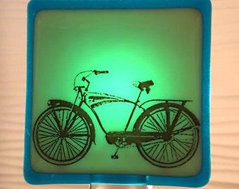 Vintage Bicycle Night Light Fused Glass