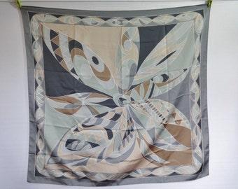 "Vintage Scarf Geometric grey brown  83cm x 88cm / 32.6"" x 34.6"""