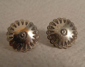 Sterling Silver Round Screw Back Earrings