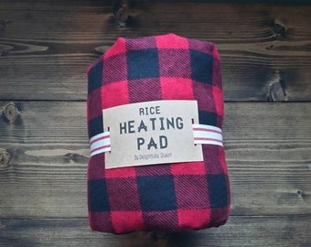 Rice Heating Pad // Buffalo Plaid Rice Heat Pack // Neck & Shoulder Therapy Rice Bag // Spa Neck Wrap // Cold Pack // Heating Pad