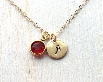 Mom Necklace, mothers day birthstone, Initial Necklace, Birthstone necklace, Gold Filled or Sterling Silver, New Mom Necklace