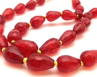 Necklace Ruby Red Quartz Genuine Golden Plated Clasp Vintage 36.31 Gr Excellent Handmade
