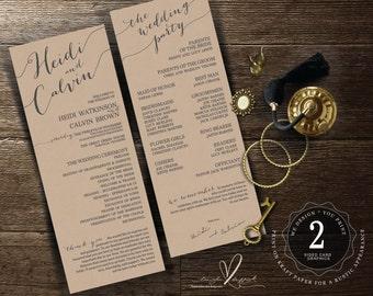 Printable Wedding Program and ceremony order custom design in vintage calligraphy design theme (w0175)