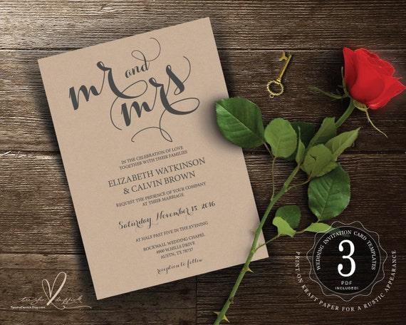 Mr And Mrs Wedding Invitation Wording: Items Similar To Mr And Mrs Wedding Invitation Instant