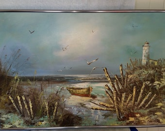 Signed Leroy Oil on Canvas Seascape/Lighthouse Painting