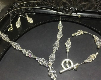 Bridal Necklace Set, Floating Necklace, Swarovski Necklace, Clear Crystal, Bridal Set, Something New, Bridal Gift, OOAK, 3 Piece Wedding Set