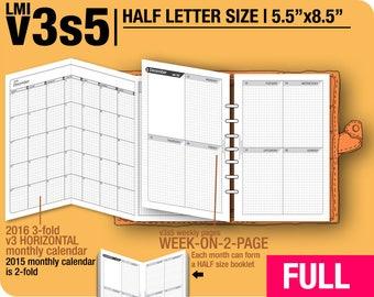 FULL [HALF size v3s5 w/o daily] January to December 2018 -Half Letter Filofax Inserts Printable Binder Planner Midori.