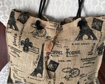 Burlap Tote Bag/ Tote Bag/ Paris Print Burlap  bag/ Eiffel Tower Print Burlap bag