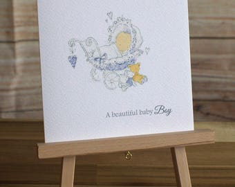 Congratulations New Baby Boy Card 6 x 6