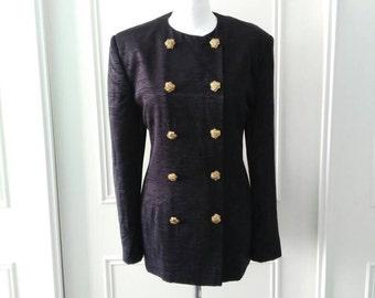 Berkertex jacket 1980's vintage jacket black jacket double breasted jacket goldtone buttons ladies jacket size 12