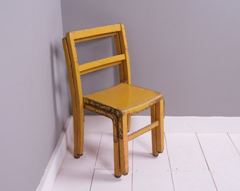 Children's Vintage Yellow Wooden Stackable Chairs - Children's Furniture