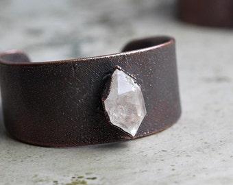 Crystal Cuff Electroformed Copper Bracelet Herkimer Diamond Stone Cuff Statement Jewelry Wide Cuff