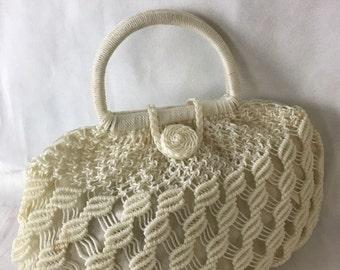1950/60's White Plastic Net Bag