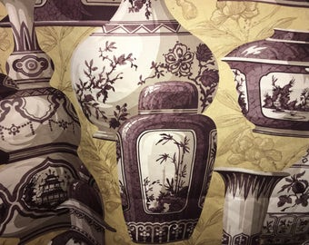 PURPLE Vase Chinoiserie Cotton fabric remant, 1 YD.