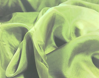 """Apple Green Voile Fabric 118"""" Wide By The Yard 100% Polyester"""