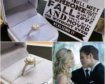 Engagement Ring The Vampire Diaries Inspired Caroline Cubic Zirconia Crystals Season 8 Stefan Candice Accola King