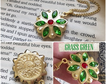 Anastasia Together In Paris Necklace Flower Key Charm Engraved Cubic Zirconia Emerald Siam Gold Plated 18K New Design Cosplay
