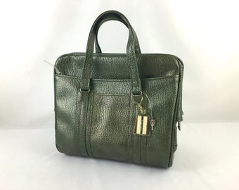 Vintage Samsonite Sherbrooke Luggage Metallic Green Locking Carry On Travel Bag with 2 Keys Soft Vinyl Overnight Carry All Tote