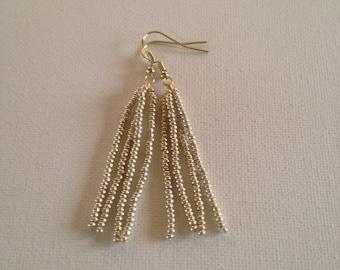 Soft gold,seed beaded earrings,tassel earrings,fringe earrings,modern earrings,gold earrings,seed beaded jewelry,dangle earrings