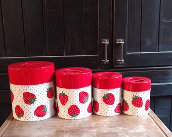 Bright Red Polka Dots and Strawberries Themed Tin Canister Set of 4