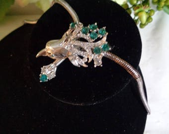 Fancy Teal Crystal Tulip or Birds Head Flower Bouquet On Snake Chain Necklace