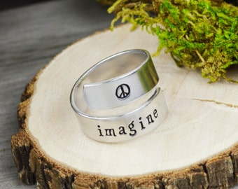 Imagine Wrap Ring // Handstamped Jewelry
