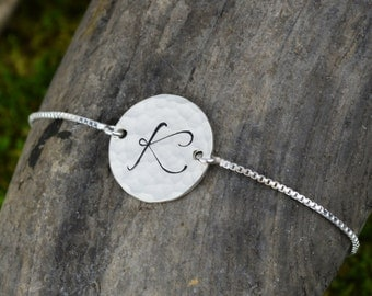 Personalized Bar Bracelet with Initial // Handstamped Jewelry