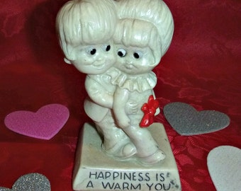 70s Kitsch Valentine Decor HAPPINESS is a WARM YOU Vintage Berrie Figurine Love Trophy Statue Paperweight Lovers Unisex Anniversary Gift Bff