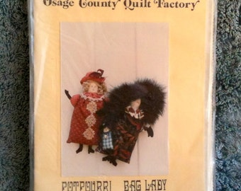 "Vintage Doll Pattern Osage County Quilt Factory Potpourri Bag Lady Virginia Robertson Uncut Pattern 10"" Doll 4"" Doll Deserdog Destash  h1"
