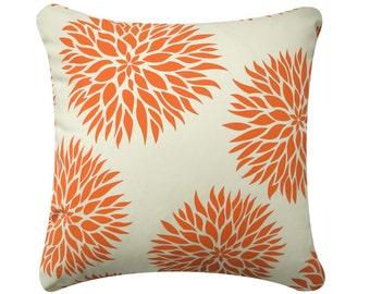 "Dahlia Flower Throw Pillow Cover, Floral Pillows, Orange Pillow, Purple Pillow, Green Pillow, Decorative Pillows, Accent, 18 x 18"""