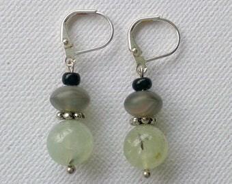 Simple green earrings, prehnite earrings, short stacked bead earrings, green and black earrings, prehnite and glass bead earrings