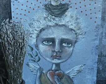 """Acrylic painting Original Art picture Home decor  """"My angel"""""""