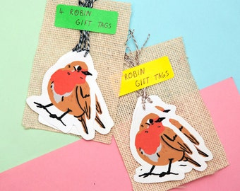 Pack of 4 Robin Gift Tags
