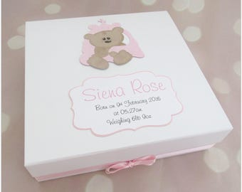 Personalised baby girl keepsake memory box, baby girl gift, memory box, new baby