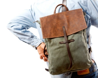 "Canvas Backpack   - Army green Laptop 15 "" Backpack - Leather and Canvas Backpack - Canvas Rucksack - large canvas bag, hobo bag"