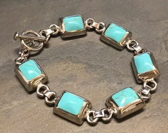 """8.25"""", Vintage taxco Sterling silver bracelet, Mexico 925 silver with turquoise inlay and toggle closure, stamped Mexico 925,"""