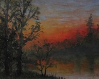Sunset, original oil painting, ACEO