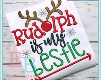Rudolph Bestie Embroidery Design - This design is to be used on an embroidery machine. Instant Download