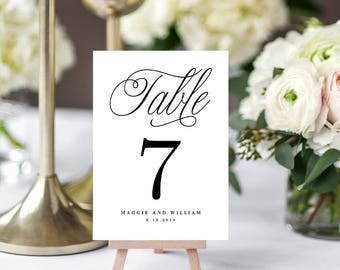Editable Table Number Card, ELEGANT SCRIPT - Printable Template - Instant Download