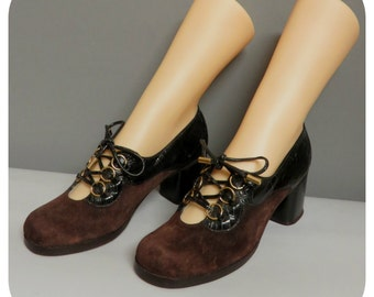 Vintage 60s/70s  black /brown suede shoes chunky heel 35/36
