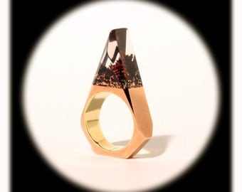 Copper resin faceted ring
