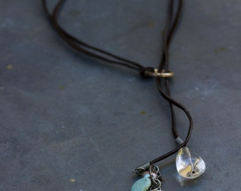 Leather Turquoise and Hand Blown Glass Larait