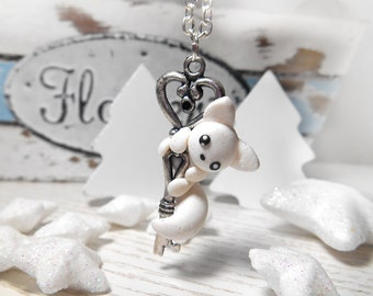 Necklace with artic white fox Keykeeper fox charm fox figure jewelry handmade