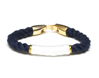 Nautical Rope Bracelet / Navy Blue Rope Bracelet / Gold Nautical Rope Bracelet / Nautical Jewelry / White Nautical Bracelet / Summer Jewelry