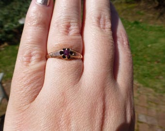 Antique Victorian 10k Solid Rose Gold Pink Sapphire Ring, Circa 1890s, Wonderful Rare Design Antique Ring, Size 7