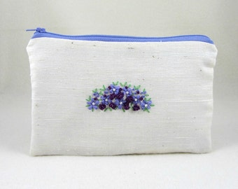 Embroidered pouch, embroidered clutch, purple floral purse, silk ribbon embroidery, bridesmaid pouch, gift for her, hand embroidery