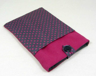 IPad cover, tablet case, kindle voyage case, iPad sleeve with pocket, pink and grey, heart tablet cover, protection sleeve