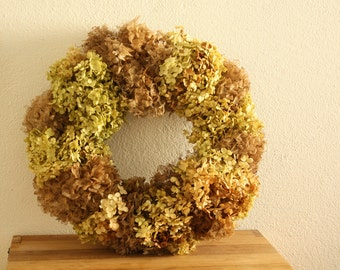 Dried Hydrangea wreath , spring wreath, wedding wreath cottage chic, home decoration , floral wreath  handmade 34x34 cm , 13.3- 13.3inch