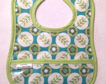 Wipeable Laminated Cotton Pocket Bib, Water Resistant, turquoise and lime - Feeding Bib, Toddler Bib, Baby Bib, flowers